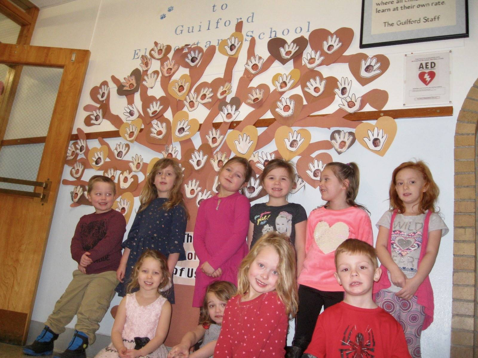 """Kindergarteners with """"Colors  of Us Tree"""""""