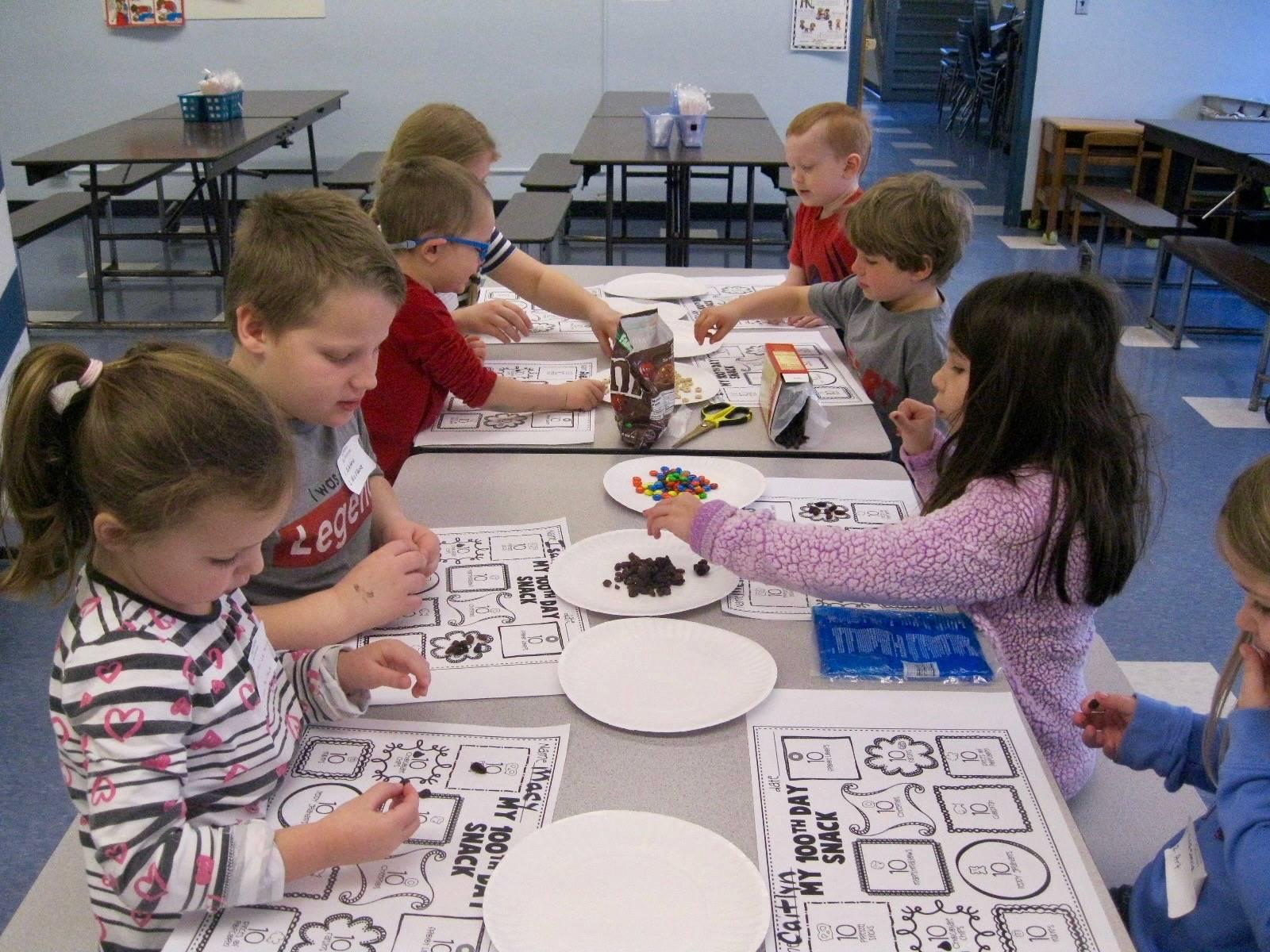 Students create 100 piece snack!