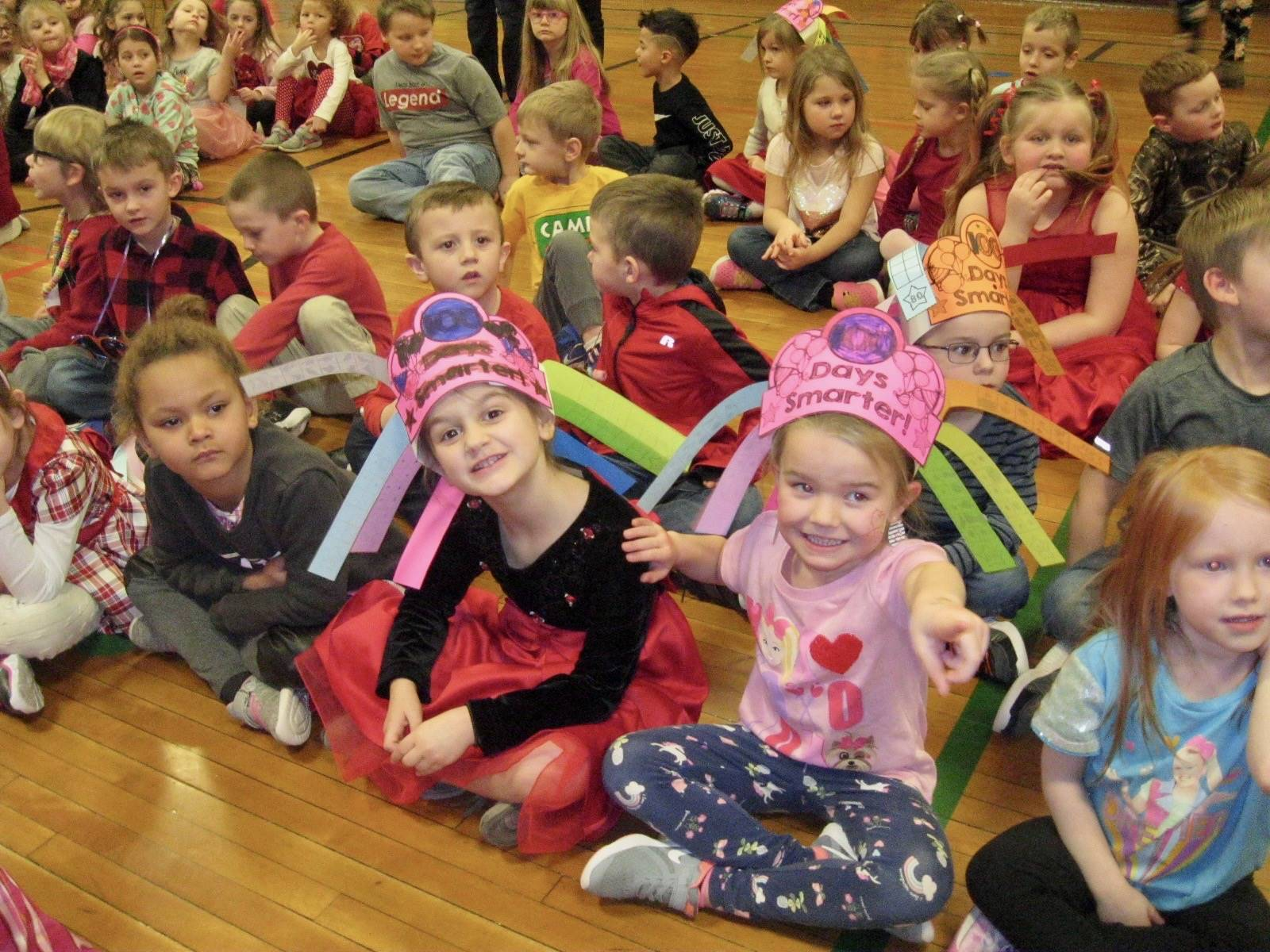 A group of students at 100th day assembly.