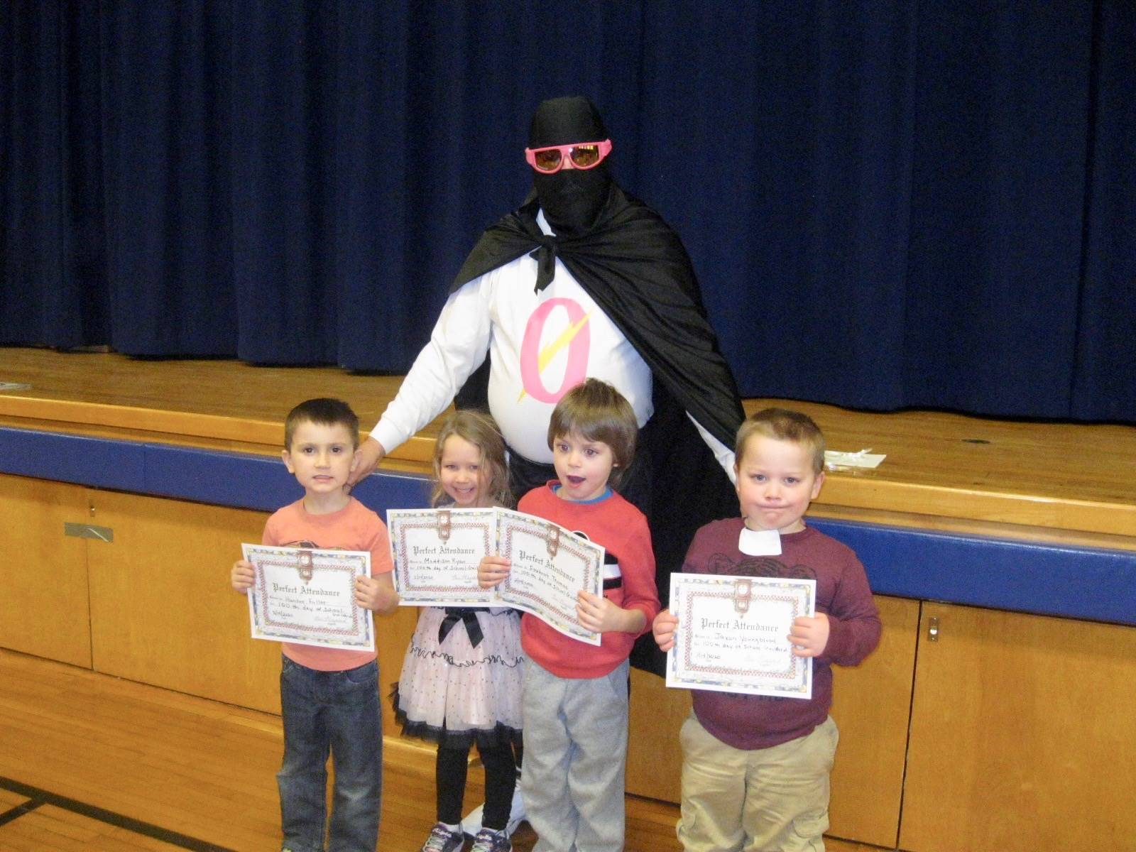 Zero the Hero with 4 students who have perfect attendance.