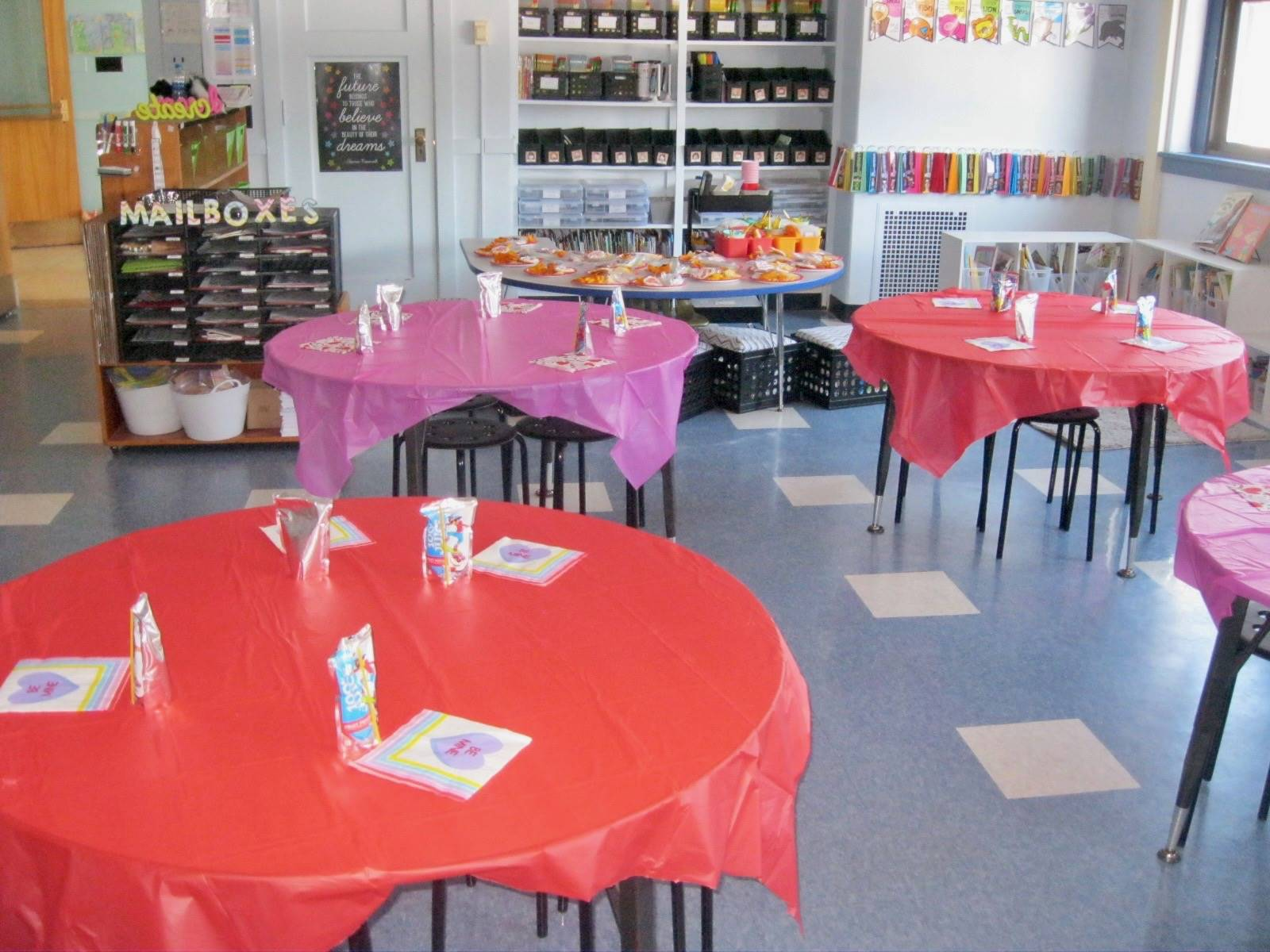 Party tables for Valentine's day!