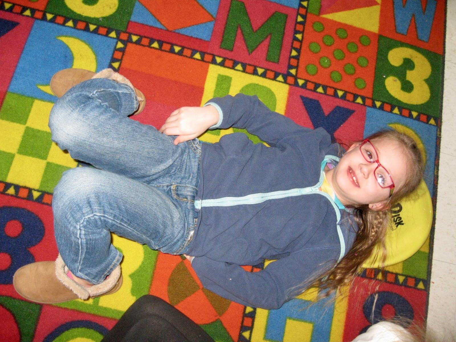 A student on the floor.